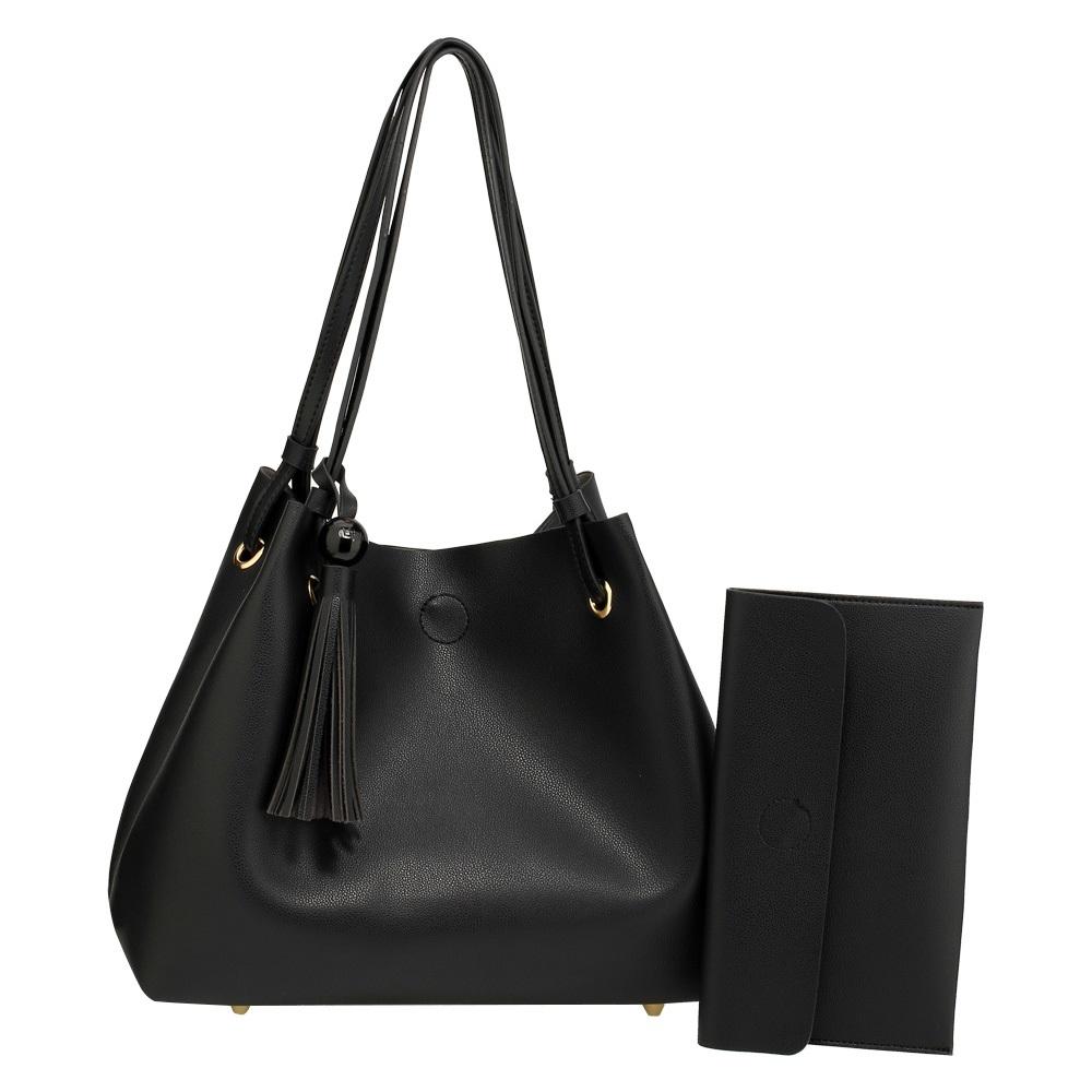 1d3843fed7 Štýlová matná kabelka so strapcami - čierna - 11620353