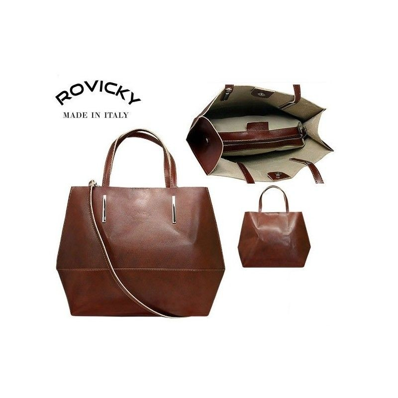 e631701b7021 Talianska kožená shopperka – hnedá kabelka – Rovicky – 11620214 ...
