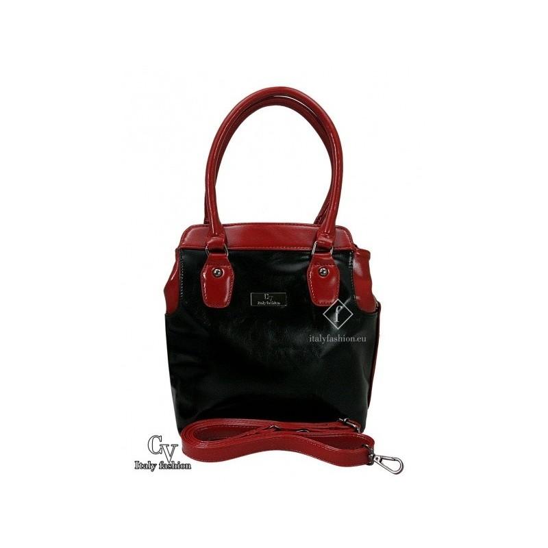 e6d56b76a7 Dámska kabelka z ekokože – čierno červená – CV ItalyFashion – 11620202